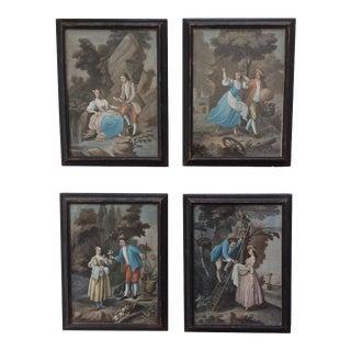 18th Century Hand Colored Mezzotints - Set of 4