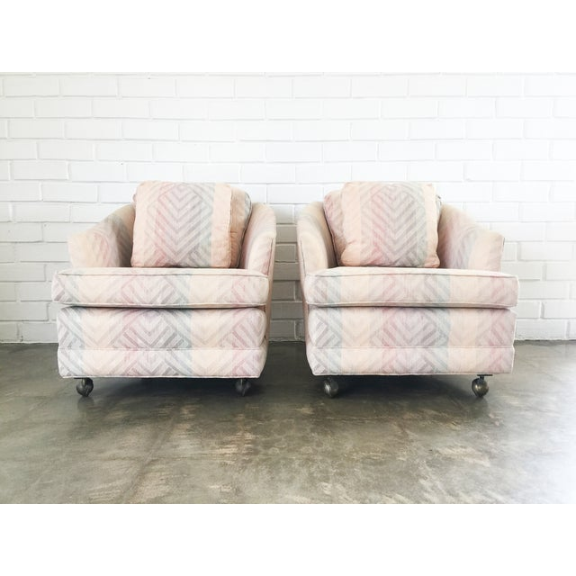 Image of Pink Geometric Pattern Rolling Armchairs - A Pair