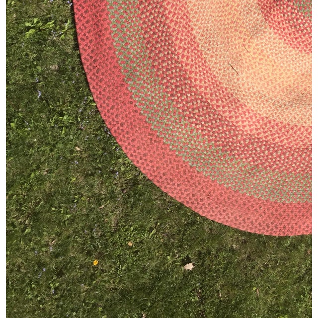 Vintage Hand Woven Oval Rag Rug- 11' x 14' - Image 4 of 4