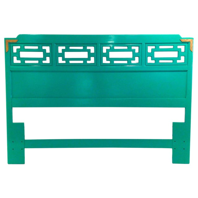 Lacquered Green Queen Fretwork Headboard - Image 1 of 5