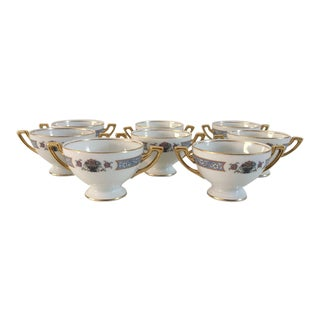 Elegant Fine China Bullion Soup Cups - Set of 8