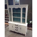 Image of Vintage French Provincial White Wood China Cabinet