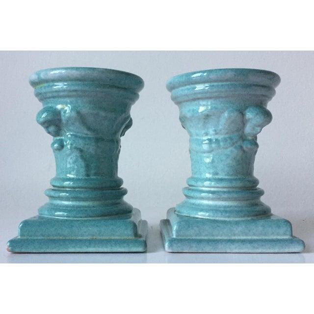 Image of Turquoise Glazed Terra Cotta Candle Holders