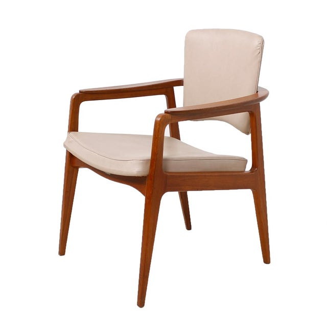 john stuart pivot back danish teak accent chair chairish