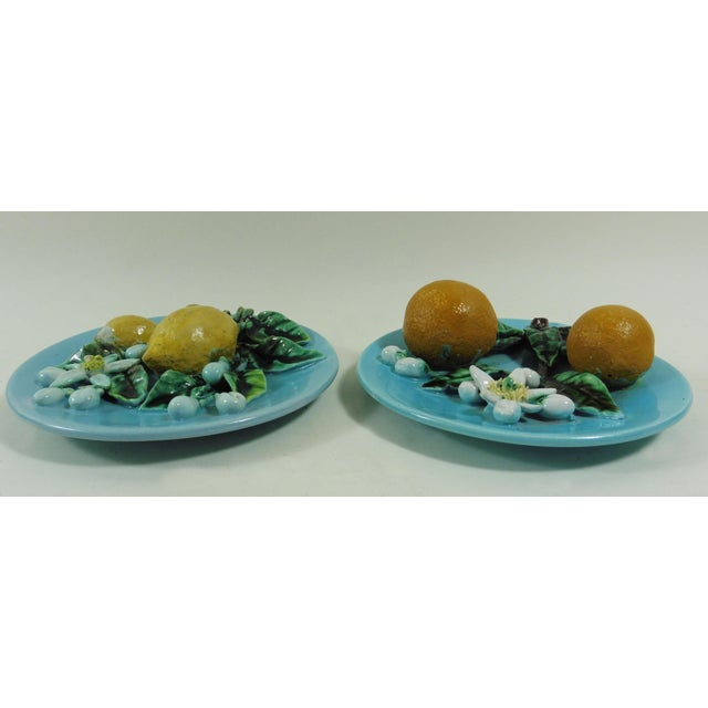 Majolica Lemons & Oranges Plates - A Pair - Image 3 of 4