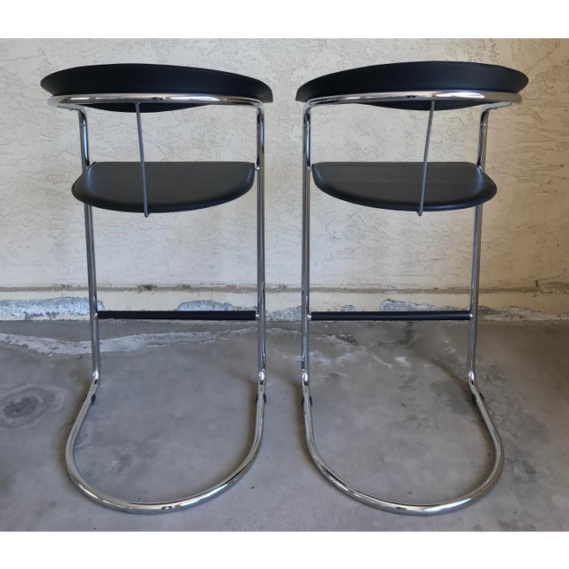 Modern Bar Stools In The Style of Anton Lorenz for Thonet- A Pair - Image 8 of 11