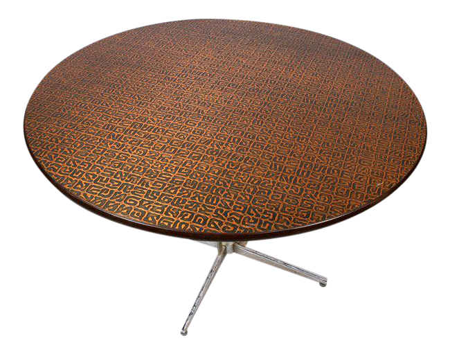Hand Hammered Copper Top Round Table, Circa 1950