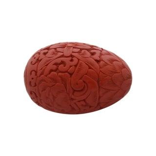 Carved Faux Cinnabar Egg