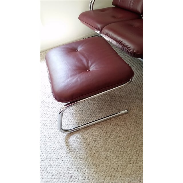 Vintage Chrome 3-Seat Sofa With Foot Stool - Image 7 of 9