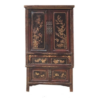 Antique Chinese Stacked Armoire in Gold