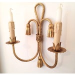 Image of Italian Gilt Rope & Tassel Candle Sconces - A Pair
