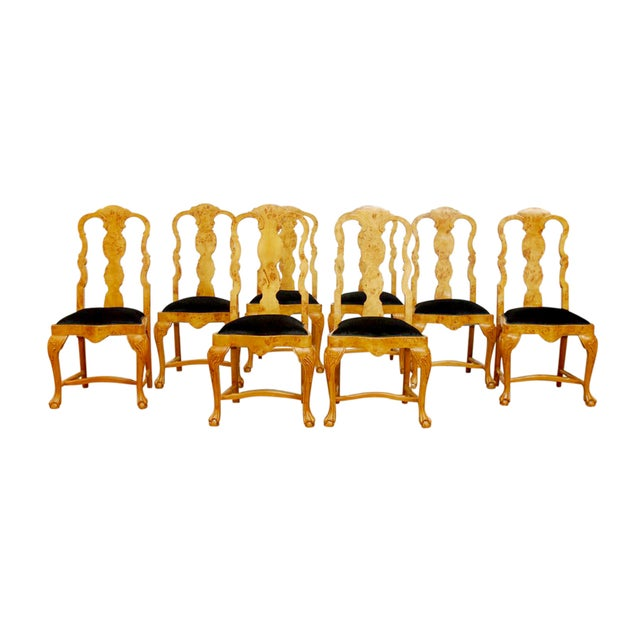 Burl Wood Queen Anne Dining Chairs - Set of 8 - Image 1 of 10