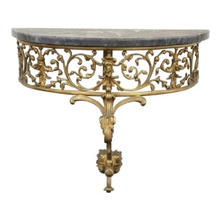 Marble and Bronze Demilune Console Table