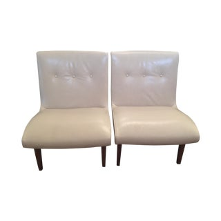 Room & Board Dahlia Cream Leather Chairs - A Pair