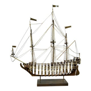 Curtis Jeré Brass Skeleton Sailing Ship Sculpture