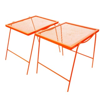 Mid-Century Modern Hermes Orange Metal Patio Side Tables- A Pair
