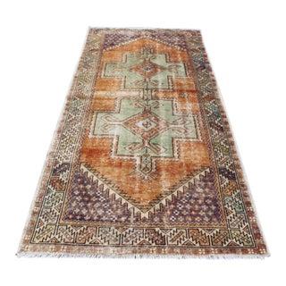 Vintage Turkish Oushak Boho Area Carpet - 3′11″ × 8′3″