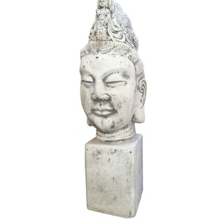 Zen Cement Statuary Kuan Jin Bust C. 1940s