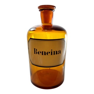 Vintage Amber Glass Bencina Apothecary Bottle