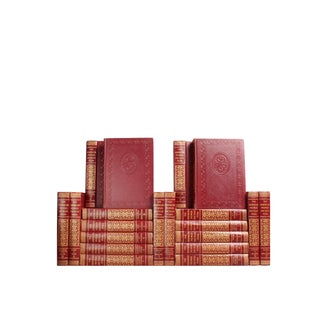 Red Midcentury Reference Books - Set of 20