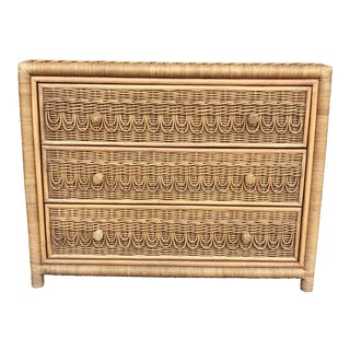 Vintage Natural Wicker Chest of Drawers