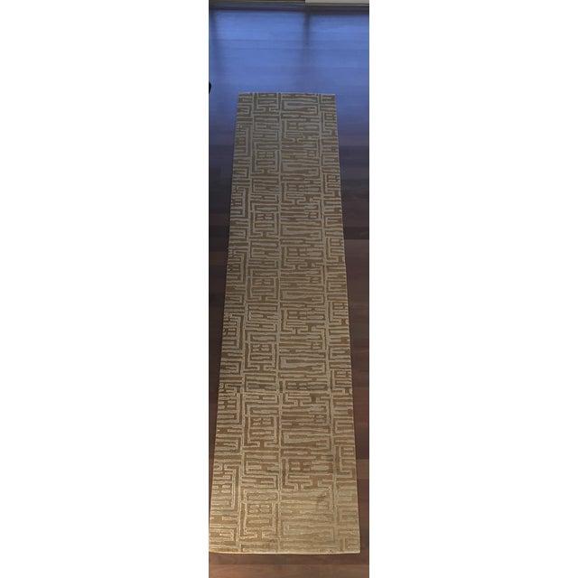 Contemporary Wool & Silk Runner - 3′ × 13′2″ - Image 2 of 5