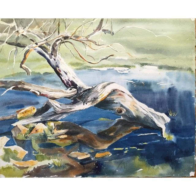 Thelma Moody 1960s Tree in River Painting - Image 1 of 5