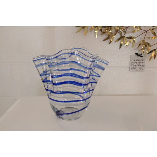 Image of Vintage Blue Striped Handkerchief Vase