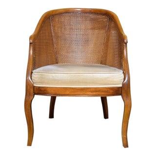 Mid-Century Caned Barrel-Back Armchair