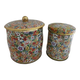 English Floral Chintz Candy Tins - A Pair