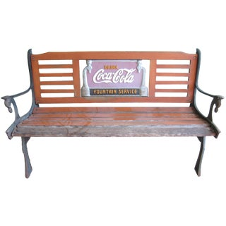 Vintage Wrought Iron & Wood Coca-Cola Bench