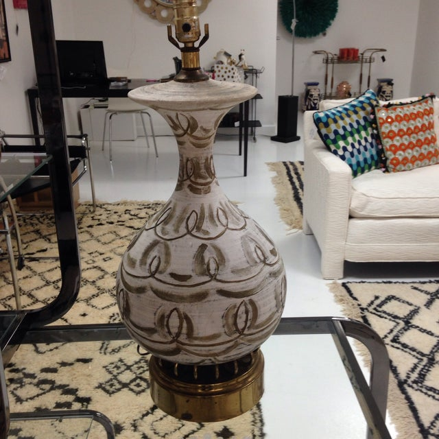 Hanpainted Mid-Century Lamp - Image 3 of 6