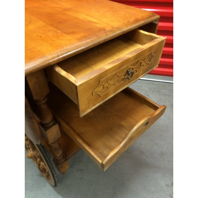 Vintage Solid Maple Drop-Leaf Tea Cart - Image 3 of 7