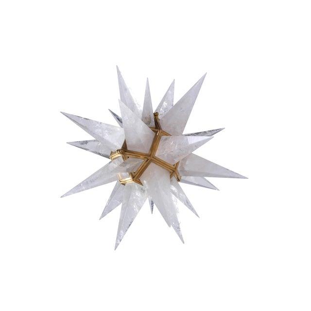 Quartz Star Pendant Light with Antique Brass Frame - Image 5 of 6