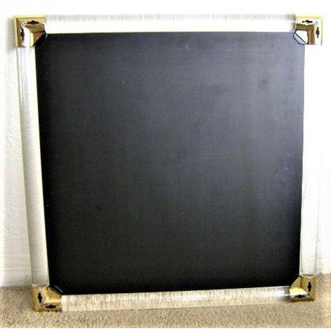 Mid-Century Modern Lucite & Brass Wall Mirror Charles Hollis Jones Style - Image 10 of 11
