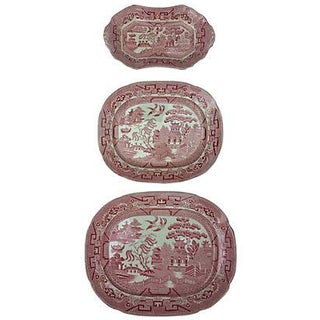 English Red & White Wall Platters - Set of 3