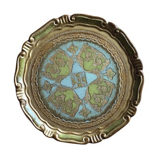 Round Green and Gold Florentine Tray