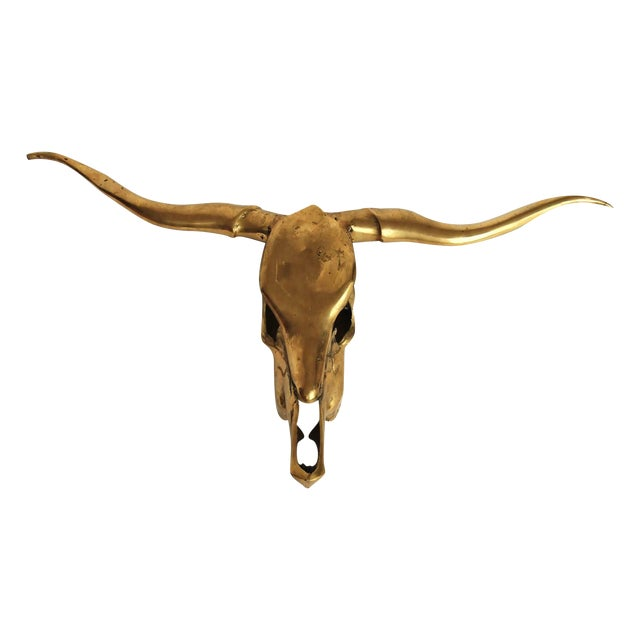 Image of Brass Longhorn Steer Skull Sculpture