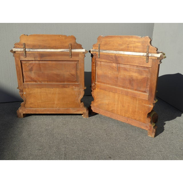 Antique White Marble Top Nightstands - A Pair - Image 11 of 11