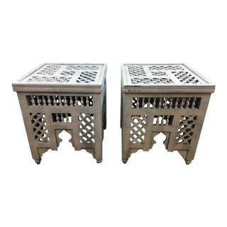 Moroccan Wooden Side Tables -- A Pair