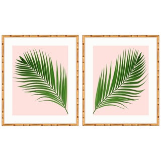 Gold Bamboo Framed Palm Print Diptych - A Pair