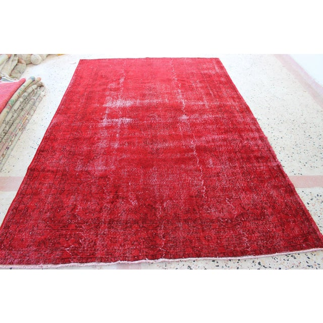 Red Overdyed Vintage Turkish Rug - 7′ × 10′10″ - Image 6 of 8