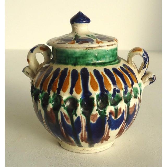 Rustic Folk Pottery Sugar Jar - Image 2 of 6