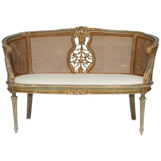 French Louis XVI Cane Settee Canape en Corbeille