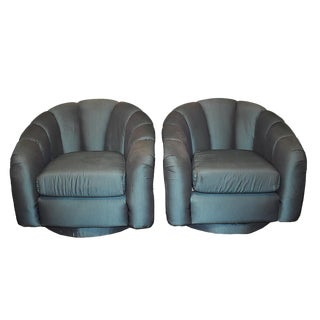 Green Upholstered Swivel Chairs - A Pair