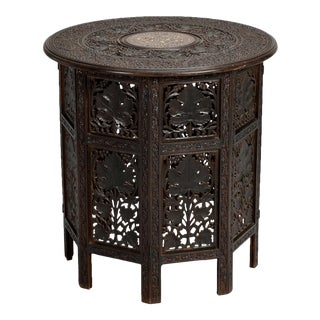 Intricately Carved Round Inlaid Moorish Side Table