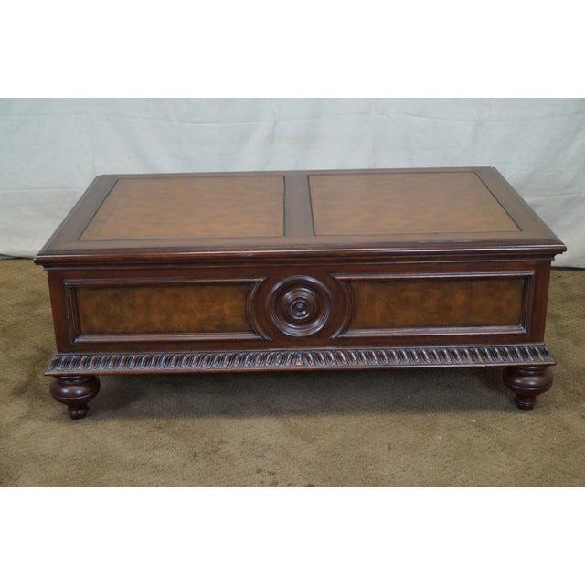 Ethan Allen Leather Top Morley Coffee Table Chairish