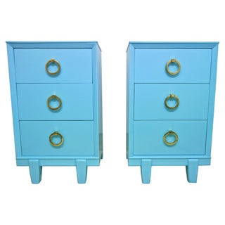 1950s Light Blue Lacquered Side Tables - A Pair
