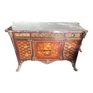 French Louis XV Style Marquetry Inlaid and Bronze-Mounted Commode