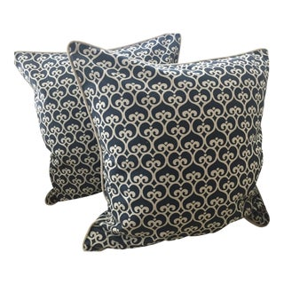 Serena & Lily Navy and White Spade Pillows- A Pair